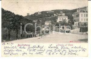 1904 BORDIGHERA Veduta della Strada al Capo *Cartolina ANIMATA FP VG