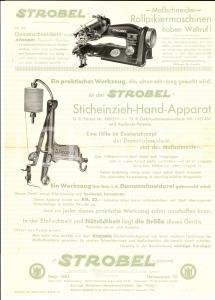 1935 MUNCHEN Ditta STROBEL Volantino macchina da cucire *VINTAGE