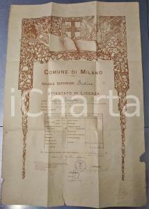 1929 MILANO Scuole superiori festive - Licenza Ernesta FIGONI *DANNEGGIATA