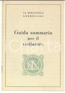 1939 MILANO Biblioteca AMBROSIANA Guida sommaria per il visitatore 22 pp.