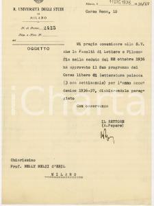 1936 UNIVERSITA' DI MILANO Rettore Alberto PEPERE approva un corso *AUTOGRAFO