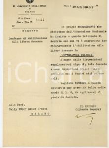 1940 UNIVERSITA' DI MILANO Rettore Alberto PEPERE conferma docenza a Nelly NUCCI