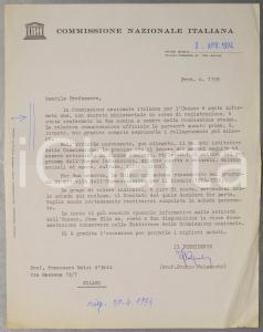 1974 ROMA UNESCO Franco VALSECCHI sulla nomina di un membro *Autografo
