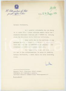 1974 ROMA Sottosegretario Cesare BENSI su nomina membro UNESCO *Autografo