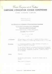 1971 SEVRES Programme 29e Séminaire Campagne Education Civique Européenne