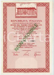 1978 ROMA Buoni del Tesoro Poliennali BTP Titolo al portatore Lire 10.000