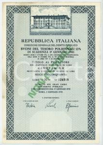 1978 ROMA Buoni del Tesoro Poliennali BTP Titolo al portatore Lire 5.000