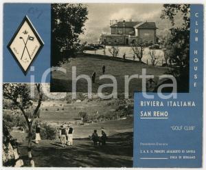 1940 ca SANREMO Golf Club - Pieghevole ILLUSTRATO VINTAGE