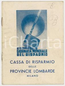 1934 MILANO Teatro dal Verme - Programma GIORNATA DEL RISPARMIO e testi canzoni