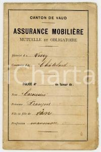1911 CHATELARD (VAUD, SUISSE) Assurance mobilière - Police Francesco CAROCERIO