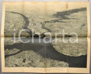 1930 ca NEW YORK Metropolis of mankind - Birds-eye view *VINTAGE map 60x50