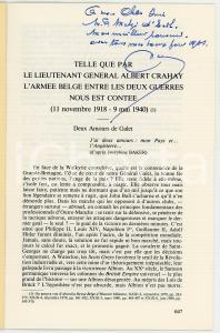 1980 Emile LOUSSE Telle que par le lieutenant général Albert CRAHAY *AUTOGRAFO