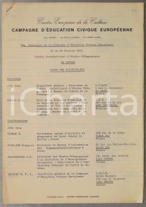 1971 SEVRES 29e Séminaire Education Civique Européenne - Liste participants