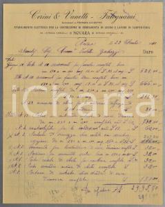 1911 NOVARA Falegnami CERINI & VANETTI Conto manoscritto porte e balconi