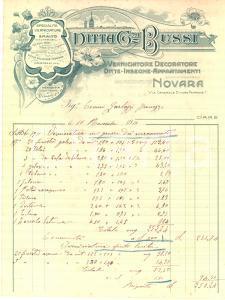 1911 NOVARA Ditta Giovanni BUSSI Verniciatore e decoratore - Fattura ILLUSTRATA
