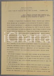 1945 MASSARI MELZI (BG) Relazione su donazione terre conte Guido MELZI D'ERIL