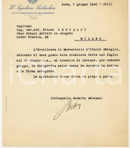 1940 ROMA Col. Roberto BALSAMO invia foto per conto del maresciallo BADOGLIO