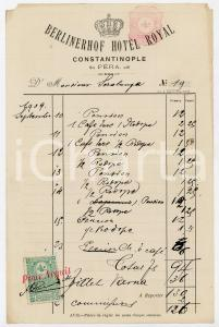 1909 ISTANBUL PERA Ricevuta alloggio BERLINERHOF HOTEL ROYAL *Bollo