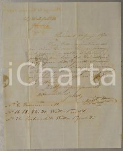 1870 PIACENZA Domenico ARIOSTO ordina cotoni grezzi a L. B. GANDOLFO *Lettera