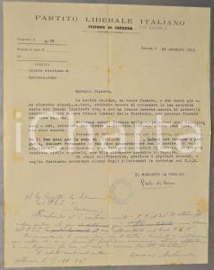 1945 SARZANA PARTITO LIBERALE ITALIANO Lettera Paolo DI BONO per sottoscrizione
