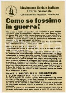 1973 PROPAGANDA MSI TORINO Senza luce come se fossimo in guerra! *Volantino