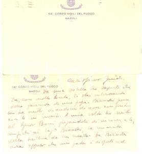 1942 WW2 NAPOLI 54° Corpo Vigili del Fuoco - Biglietto di ringraziamento