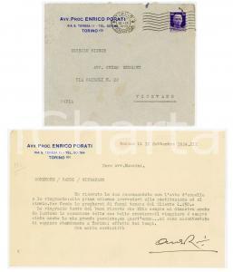1934 TORINO Avv. proc. Enrico PORATI non viaggia per colpa della crisi *Lettera