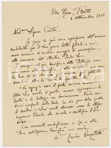 1905 TRENTO Condoglianze Luisa ANZOLETTI ai conti MELZI D'ERIL *AUTOGRAFO