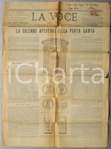 1899 LA VOCE DELLA VERITA' Solenne apertura della Porta Santa *Giornale n° 297