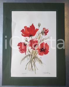 1996 ARTE Un mazzo di papaveri *Acquerello FIRMATO 30x40 cm