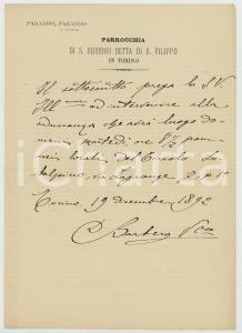 1892 TORINO Parrocchia S. EUSEBIO - Invito di don BARBERO a una conferenza