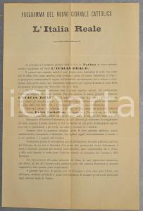 1892 TORINO L'ITALIA REALE Programma del nuovo giornale cattolico *Volantino