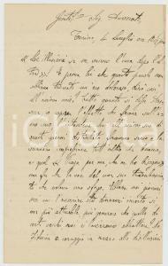 1893 TORINO Sac. Giacomo CARDANO incita alla fiducia nel futuro *Autografo