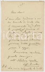 1893 TORINO Don Domenico TINETTI chiede aiuto per giornale L'ITALIA REALE