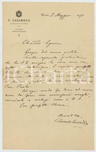 1893 TORINO Era un rivoluzionario il divino Cristo *Autografo Corrado CORRADINI