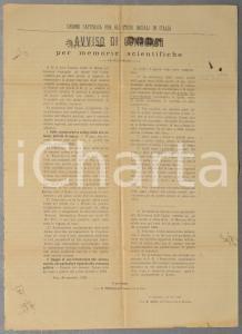 1892 PISA Unione Cattolica per gli Studi Sociali - Concorso memorie scientifiche