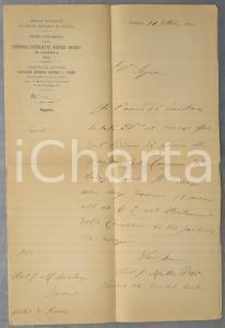 1892 GENOVA Congresso Studiosi Cattolici Scienze Sociali - Lettera Matteo POZZO