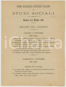 1892 GENOVA Primo Congresso Cattolico di Studi Sociali - Ordine del giorno