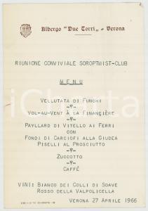 1966 VERONA Albergo DUE TORRI - Riunione conviviale SOROPTIMIST CLUB *Menù
