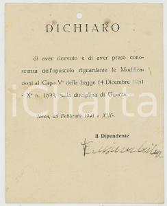 1941 WW2 IVREA Dichiarazione dipendente Aristide TANSINI su disciplina di guerra