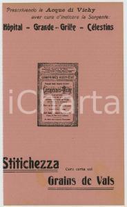 1910 ca Acque di VICHY - Grains de VALS contro la stitichezza *Carta assorbente