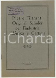 1930 ca Pietre Filtranti originali SCHULER per l'industria chimica Tip. TOFANARI
