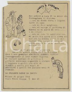 1944 MILANO Invito festa diploma geometri ANGIOLINI ALBERTI FEDRIGO *Umoristico