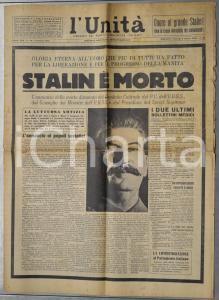 1953 L'UNITA'  Morte di Stalin - Gloria eterna *Giornale anno XXX n° 56