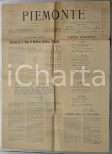 1910 PIEMONTE Scoperta di un autografo di Bona di SAVOIA *Giornale anno I n° 4