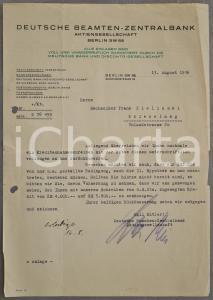 1936 BERLIN DEUTSCHE BEAMTEN-ZENTRALBANK Lettera commerciale a un cliente