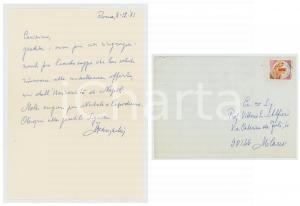 1981 ROMA Ruggero MENEGHELLI ringrazia per la recensione di un saggio *Autografo