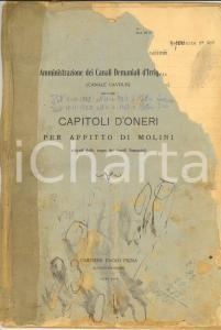 1930 CANALI CAVOUR Contratto affitto molino SANT'ANGELO LOMELLINA a Siro MOTTINI