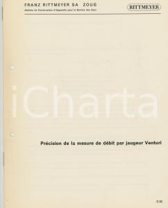1965 ca ZOUG FRANZ RITTMEYER SA Précision mesure débit par jaugeur VENTURI