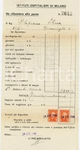 1944 ISTITUTI OSPITALIERI DI MILANO  Ricevuta per degenza Elena PLOPEANO *Bolli